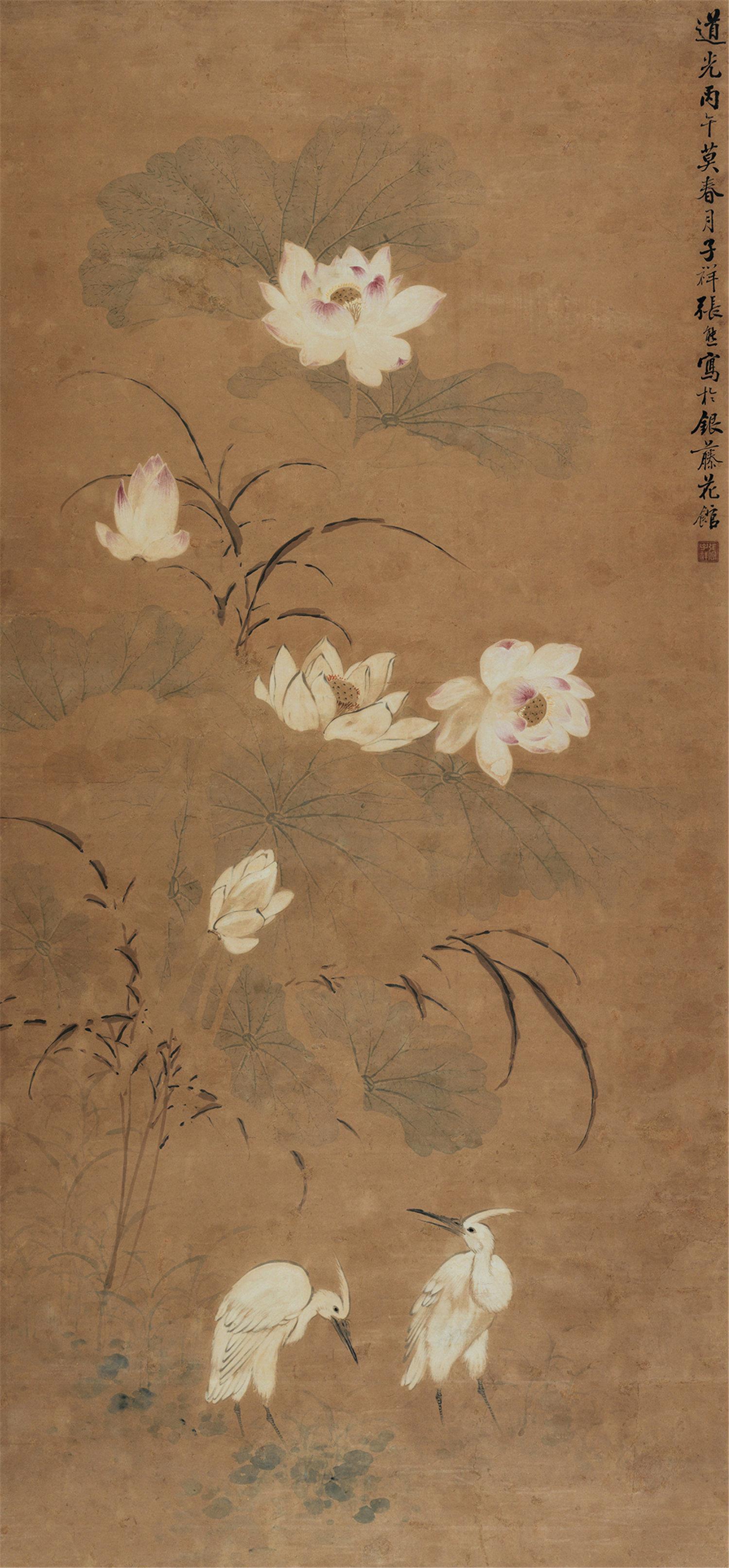 张熊(1803-1886)荷花白鹤
