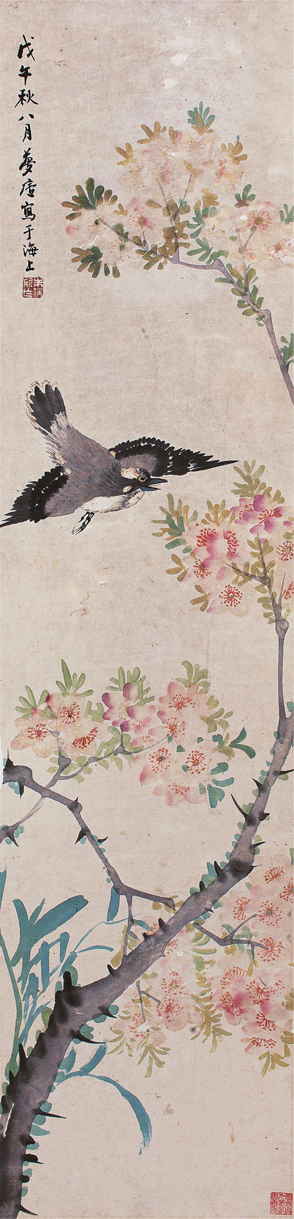 上一件下一件 拍品描述 1858年作  设色纸本  轴 款识:戊午秋八月梦庐