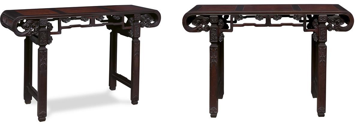 清 红木雕灵芝纹琴桌 (一对)图片
