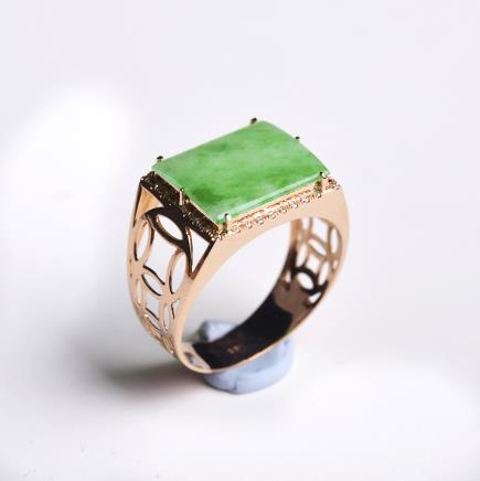 18K金冰糯种满绿戒指