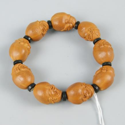 橄榄核雕财神手串