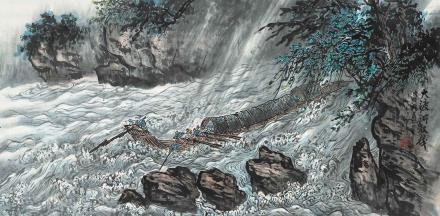 吴一峰  大渡河放筏