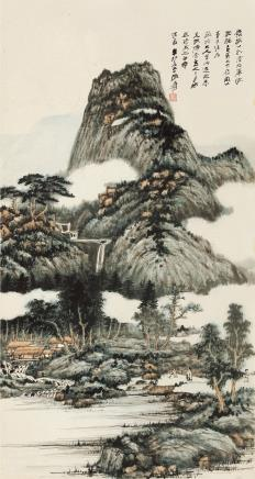 张大千 1899~1983  溪山深秀