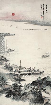 谈云观(1909~2001) 1961年作 黄浦江上 立轴 设色纸本