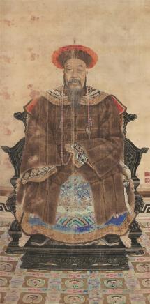 金昆 人物肖像 立轴 设色绢本