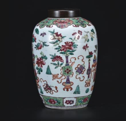 五彩博古图茶叶罐  配木盖
