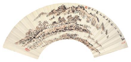 黄定初 潇湘山河图扇面