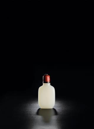 白玉折方光素鼻烟壶
