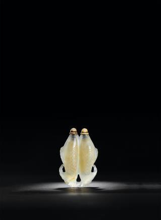 冰糖玛瑙雕双联鱼形鼻烟壶