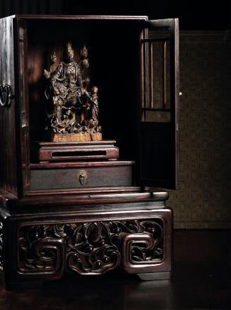 王世襄赠韵荪岳母木雕佛像、佛龛、理石台座