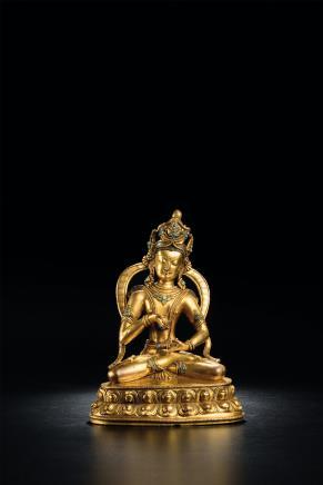 16世纪铜鎏金嵌宝金刚萨埵像