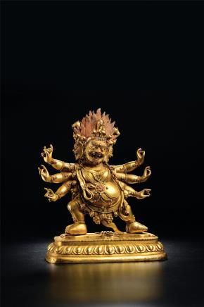 18世纪铜鎏金嵌宝马头金刚像