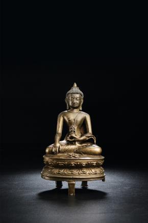 15世纪铜不动佛坐像