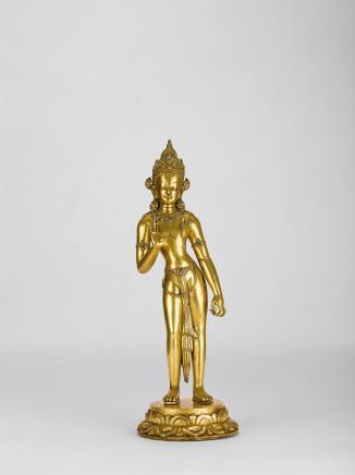 15世纪铜鎏金莲花手观音立像