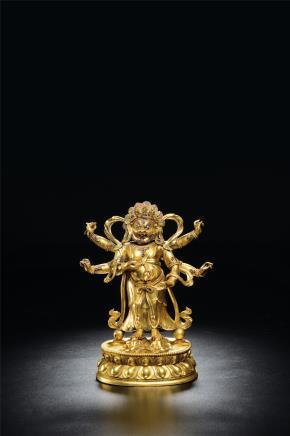 18世纪铜鎏金六臂玛哈嘎拉立像