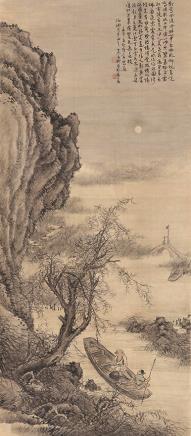 秦古柳 望月图立轴