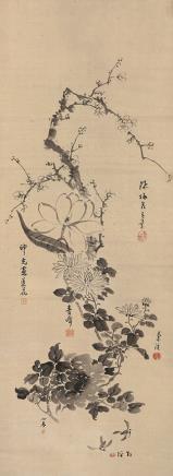 印光 花卉立轴