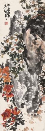 吴茀之 花卉立轴