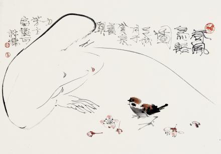 林墉(b.1942)春风鸟语图