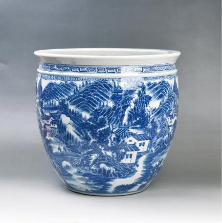 清(款式)青花山水纹画缸