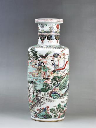清(款式)粉彩众仙贺寿图棒槌瓶
