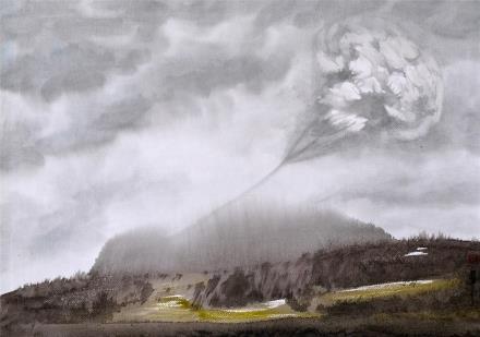 贺国平 书画纸片水彩画  《云系列之四》