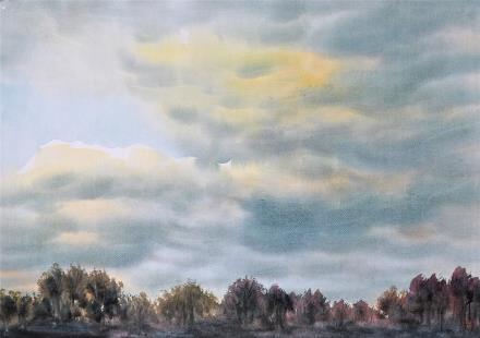 贺国平 书画纸片水彩画  《云系列之五》