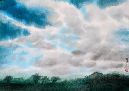 贺国平 书画纸片水彩画  《云系列之七》