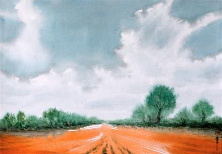 贺国平 书画纸片水彩画  《云系列之八》