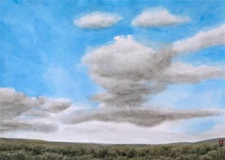 贺国平 书画纸片水彩画  《云系列之十》