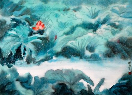 贺国平 书画纸片水彩画  《荷韵系列之十》