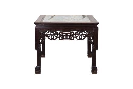 清 红木嵌理石绳纹方桌