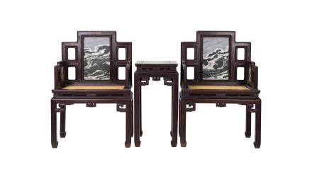 清 红木嵌理石屏风椅一套