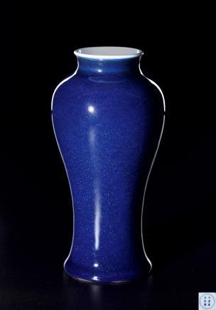 清雍正 官窑洒蓝釉广口梅瓶