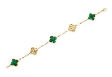 梵克雅宝 Van Cleef & Arpels Alhambra 孔雀石及钻石手炼