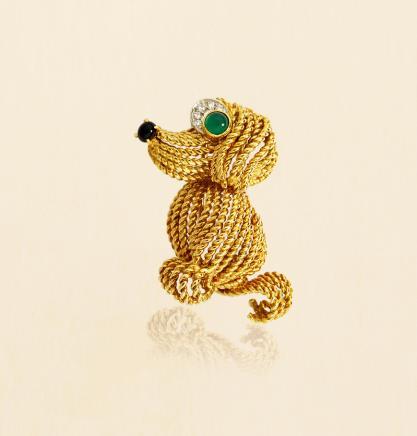 宝诗龙 Boucheron 18K黄金配祖母绿及钻石「小狗」古董胸针 约1960年巴黎制