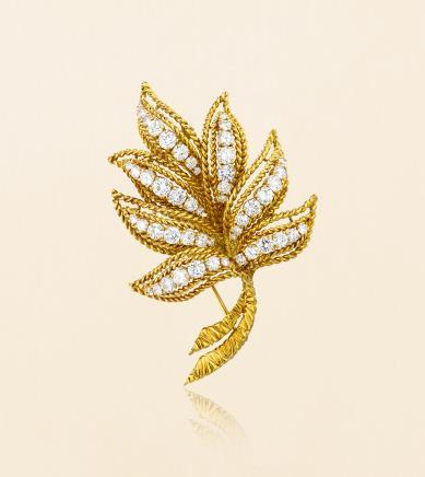 梵克雅宝 Van Cleef & Arpels 18K黄金镶嵌钻石「叶形」古董胸针 约1963年纽约制