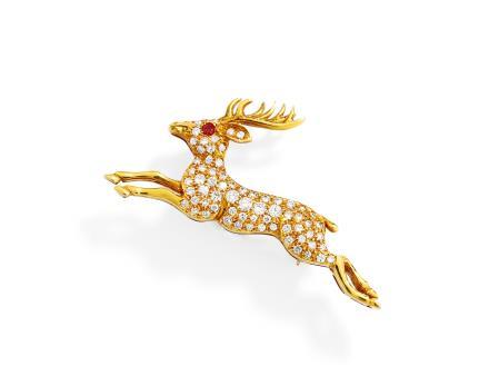 18K黄金配红宝石及钻石「鹿形」古董胸针