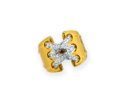 18K黄金及铂金配钻石「绑带」戒指