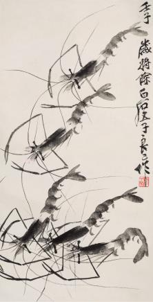 齐良已(1923-1988)墨虾
