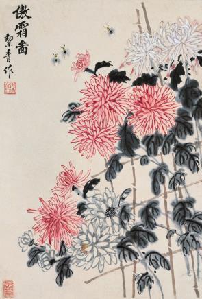 胡絜青(1905-2001)傲霜图