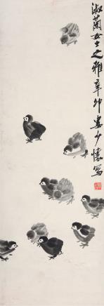 娄师白(1918-2010)雏鸡图