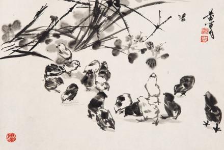 黄胄(1925-1997)雏鸡图
