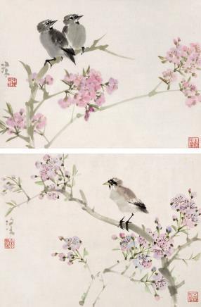 宋涤(b.1945)桃花小鸟两帧