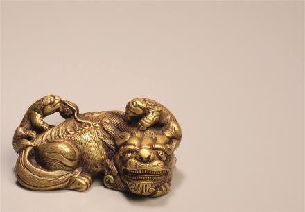 清  铜太狮少狮镇纸