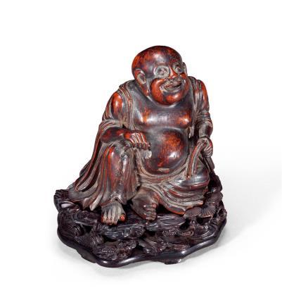 清早期  竹根雕弥勒佛坐像