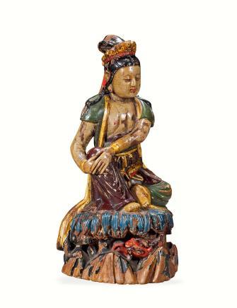 明或更早  木雕彩绘自在观音坐像
