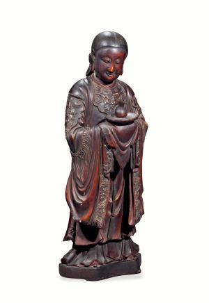 清早期  木胎漆金侍女像