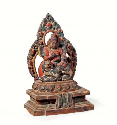 明  紫檀木雕彩绘财宝天王像