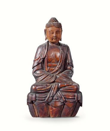 明  木雕髹漆释迦牟尼佛坐像